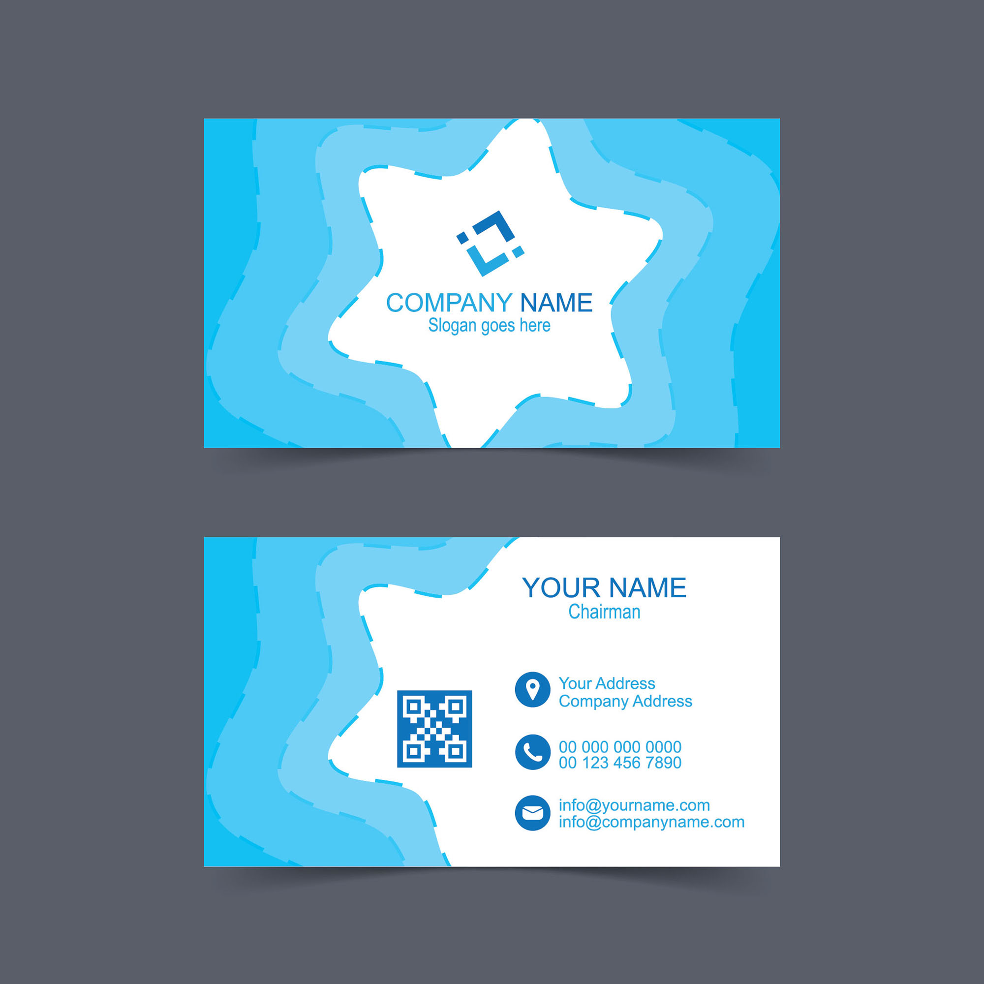 Blue And White Business Card Template Free Download Wisxicom - Business cards templates for free