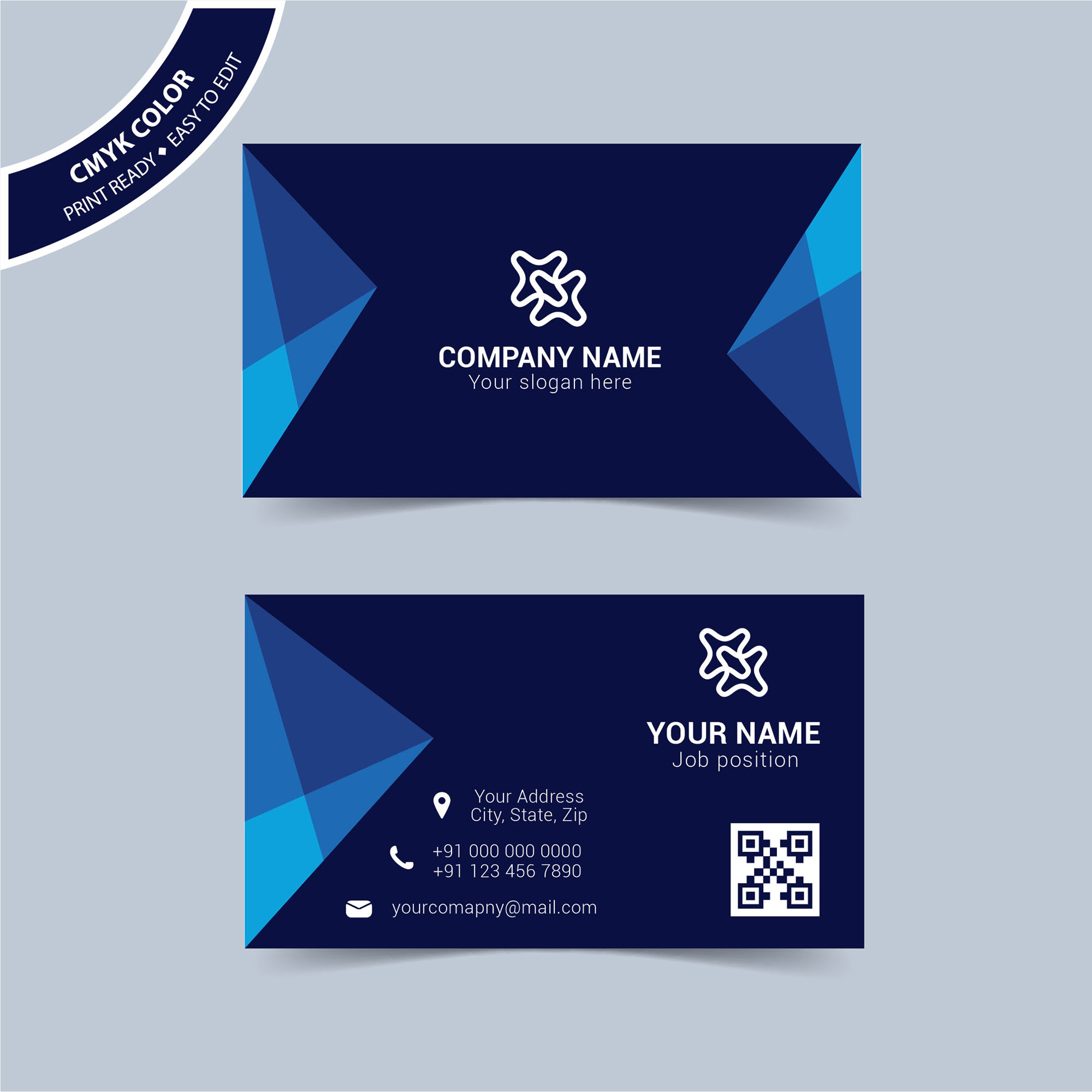 Modern Blue Business Card Template Free Download - Wisxi.com