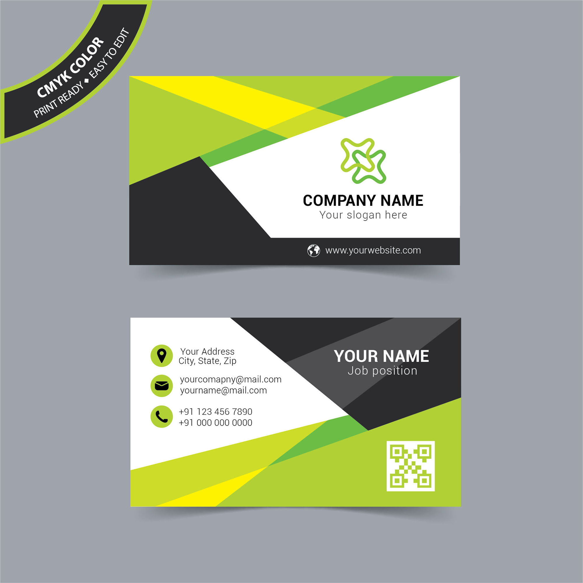 Modern Colorful Business Card Design Free Download Wisxicom - Business cards examples templates
