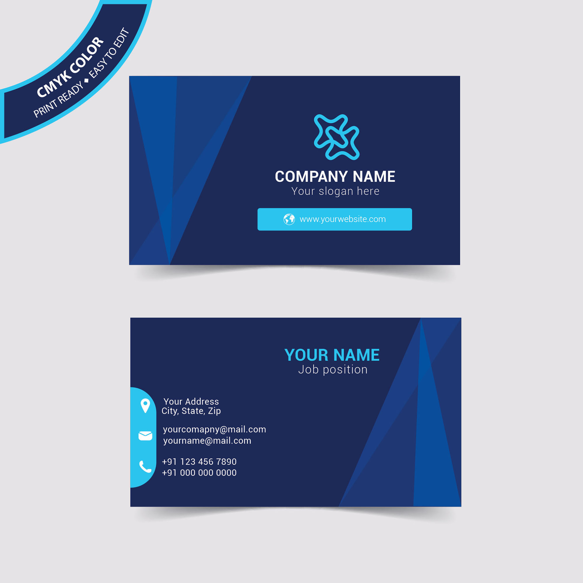 Blue Creative Business Card Design Free Download Wisxicom