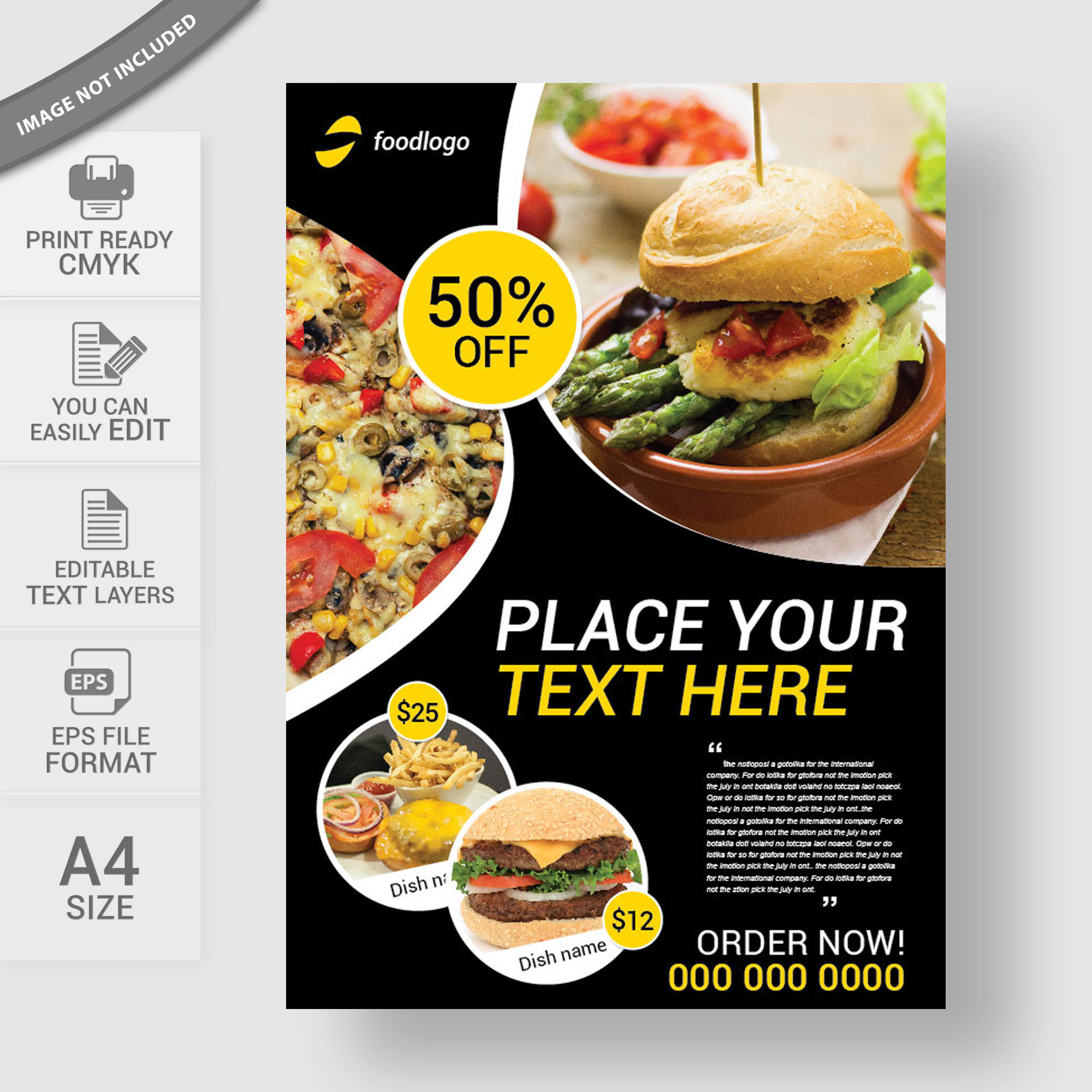Food menu flyer print template free download for Free food brochure templates