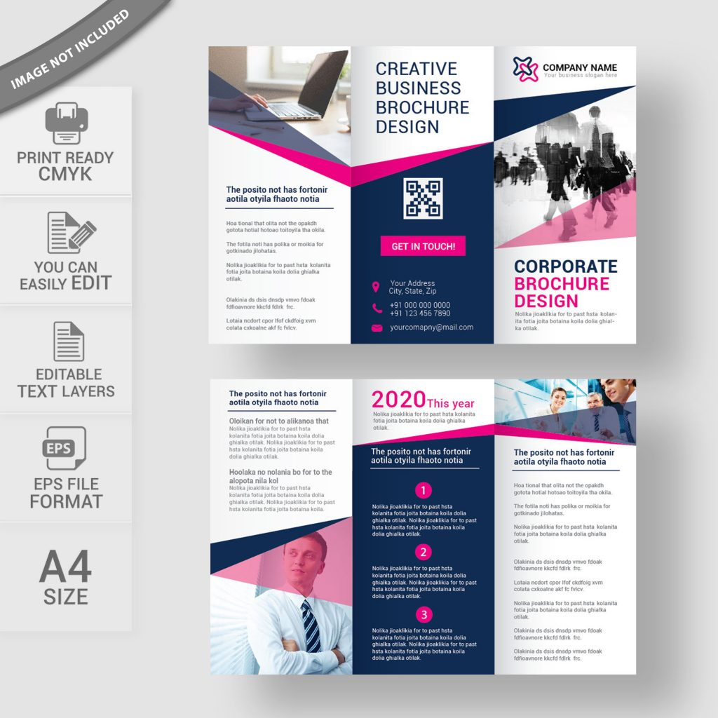 Tri fold brochure free vector download print ready for Brochure for web design company