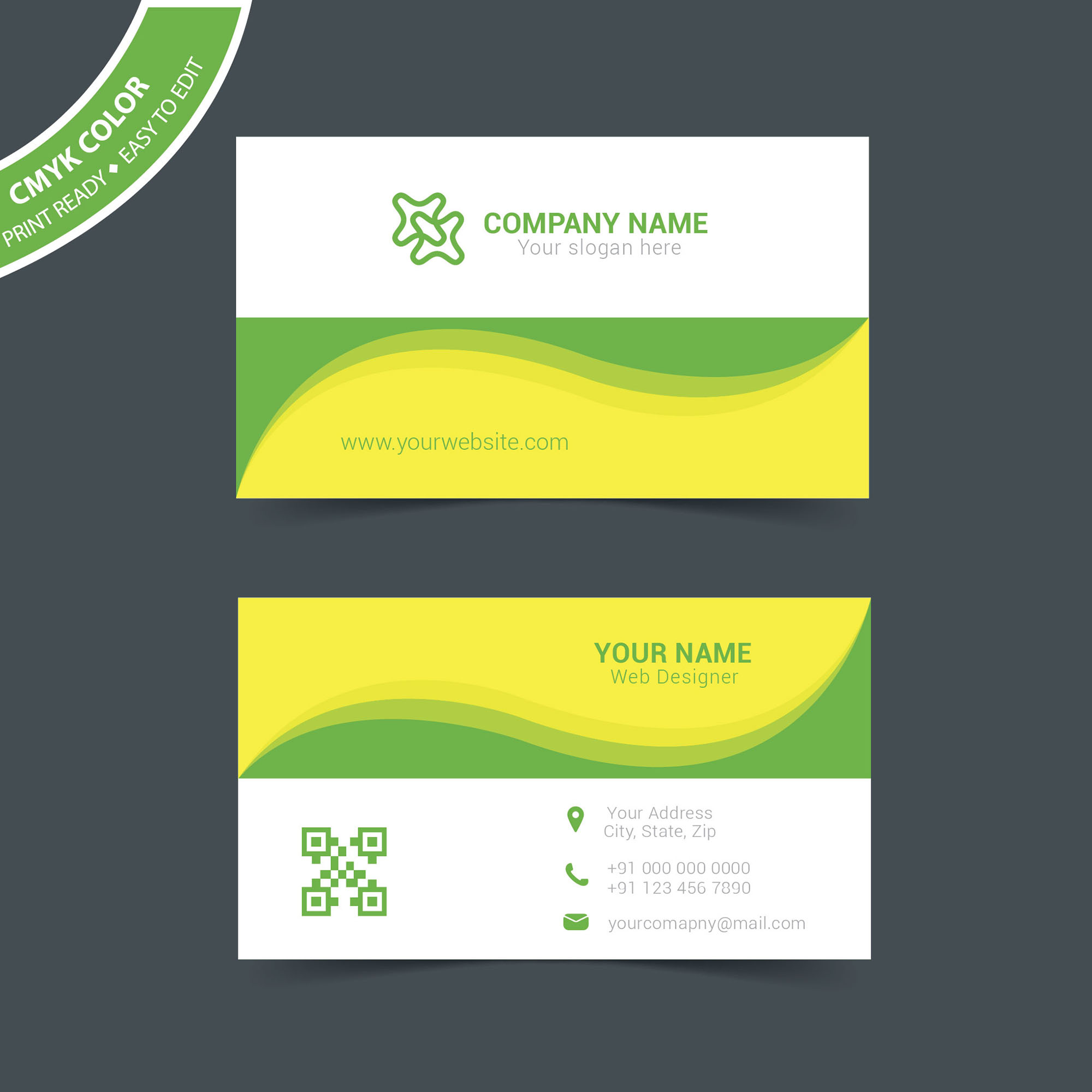 Corporate Business Card Vector Free Download Wisxicom - Free business card layout template