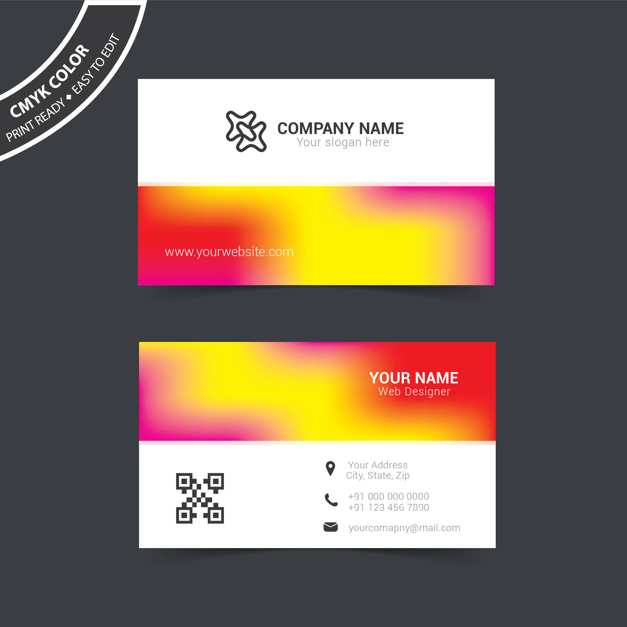 Colorful Business Card Template Free Download Wisxicom - Business cards templates free download