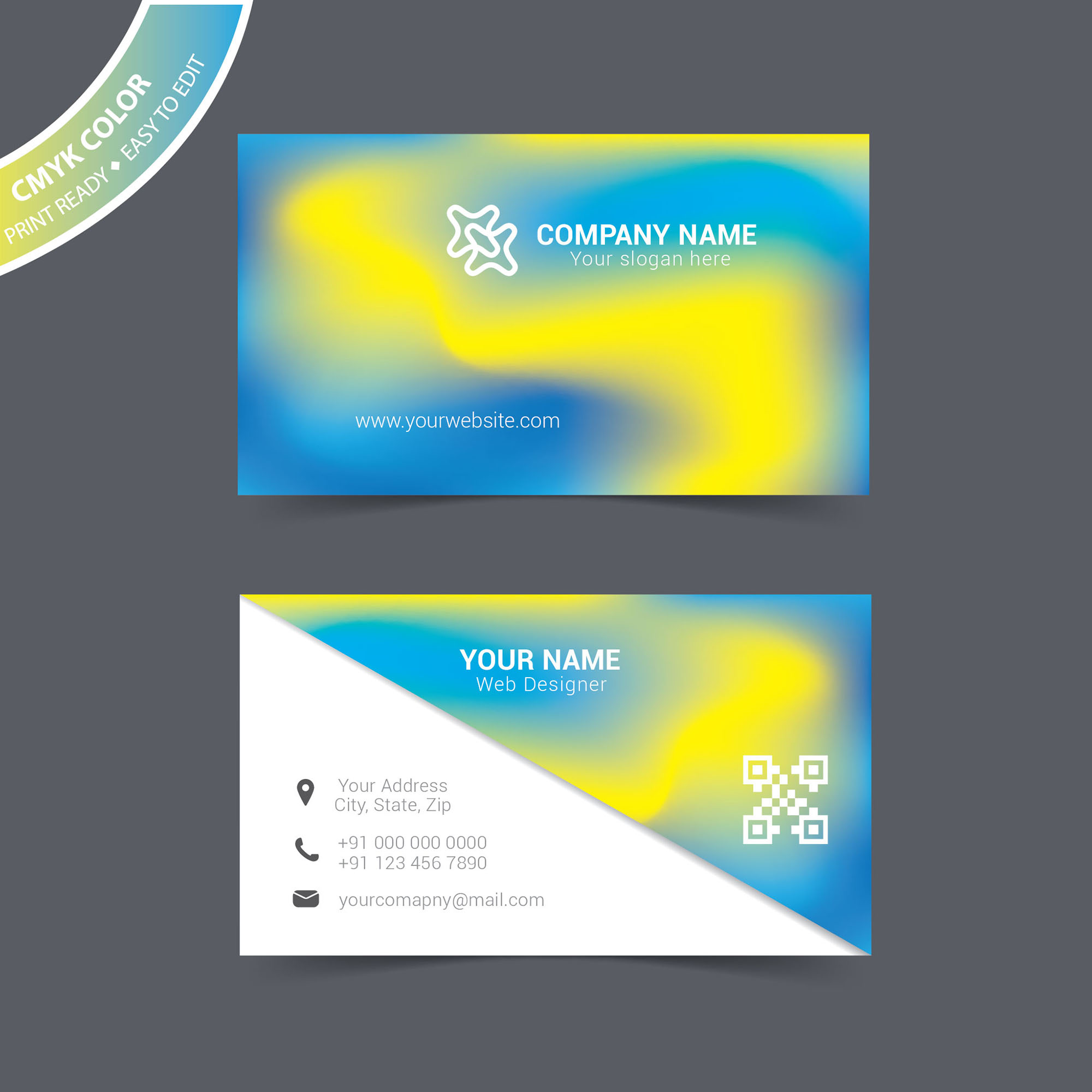 Vector abstract business card free download - Wisxi.com