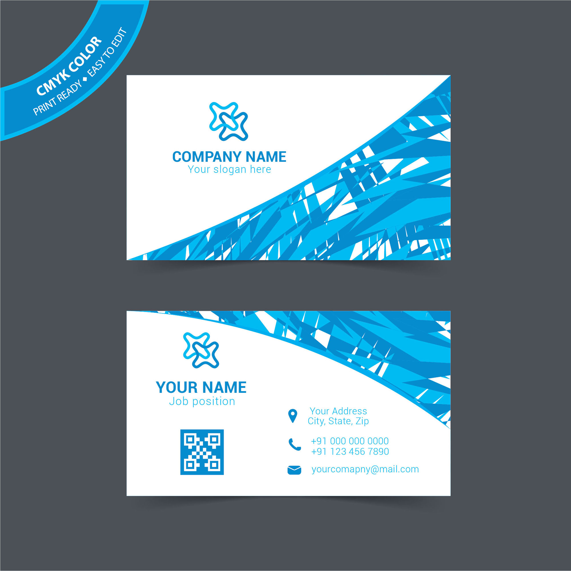 Blue Abstract Business Card Free Download - Wisxi.com