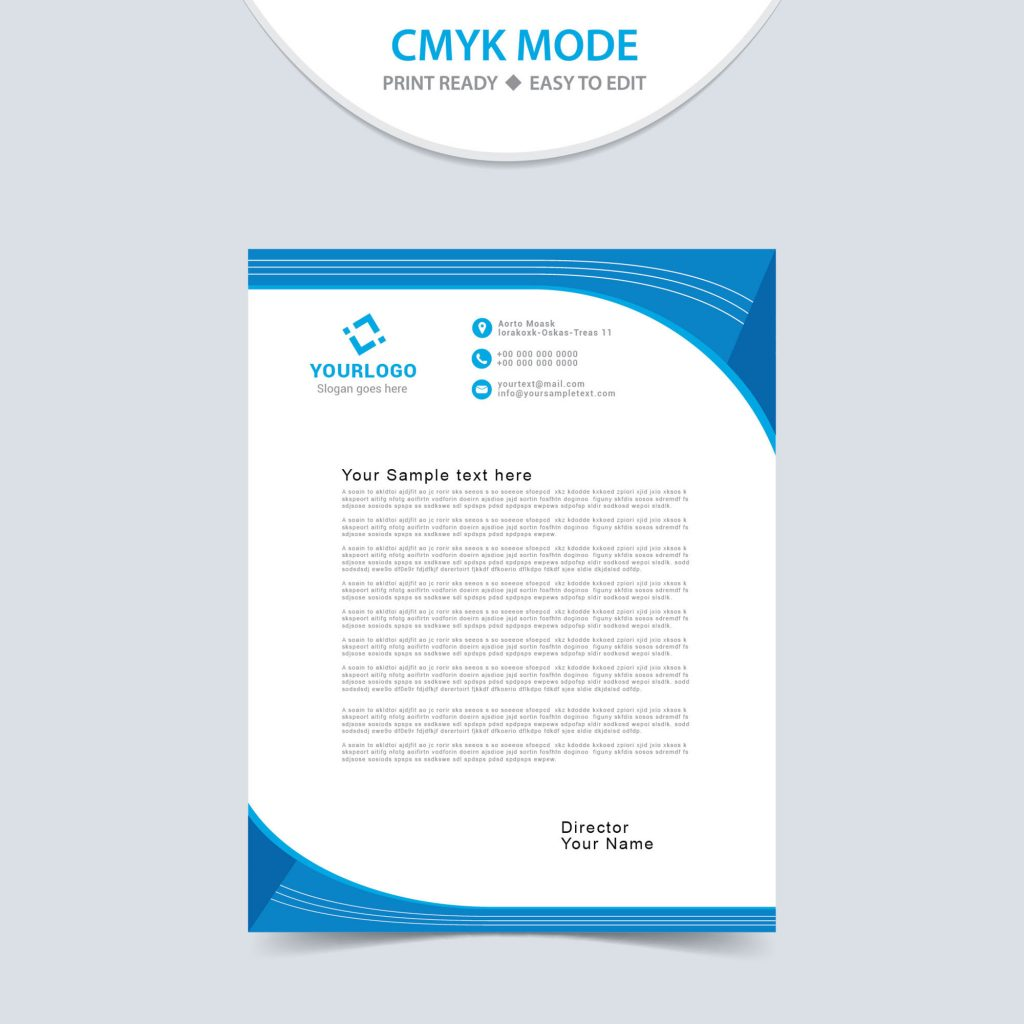 Free Vector Printable Stationery Design Template: Free Modern Letterhead Template