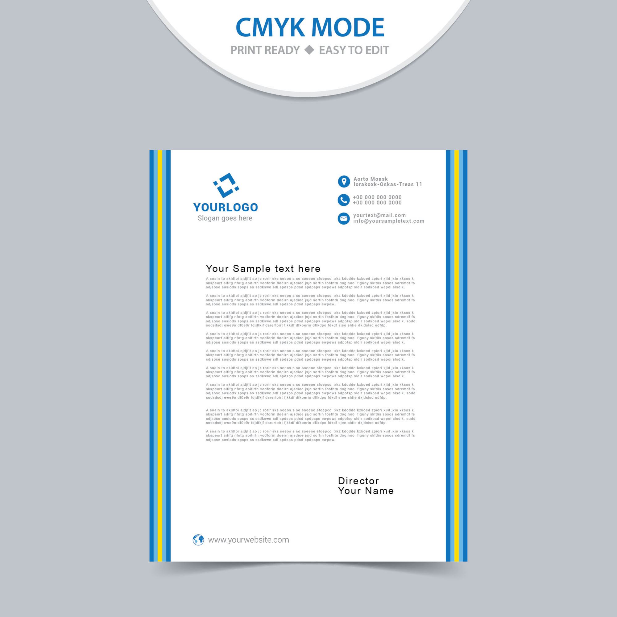 Free simple letterhead design print ready wisxi letterheads letterhead design letterhead template print template vector abstract business accmission Images