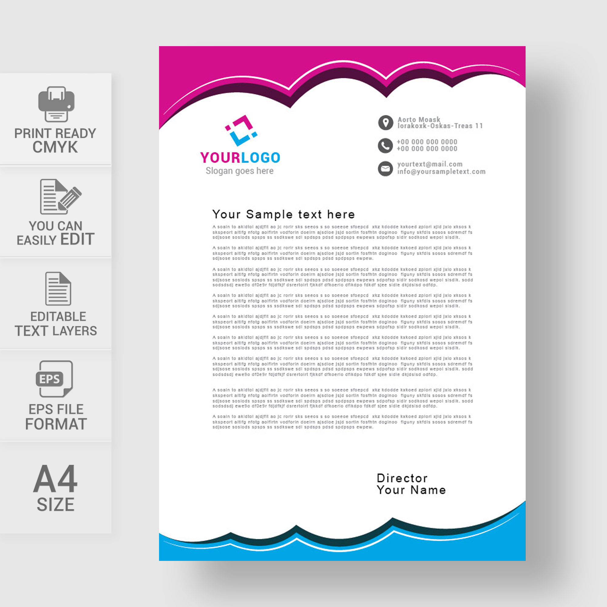 Editable corporate letterhead template free download wisxi letterheads letterhead design letterhead template print template vector abstract business spiritdancerdesigns Image collections