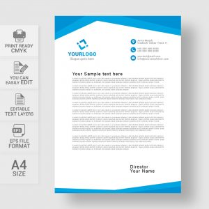 Abstract blue letterhead template