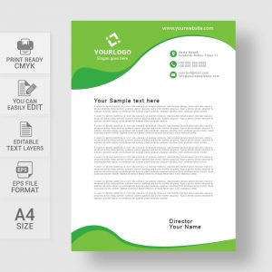 Creative green letterhead template
