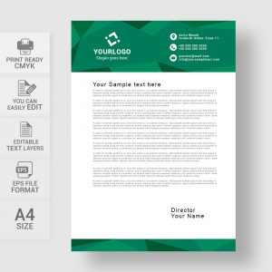Abstract corporate green letterhead