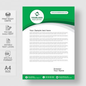 Abstract green letterhead template
