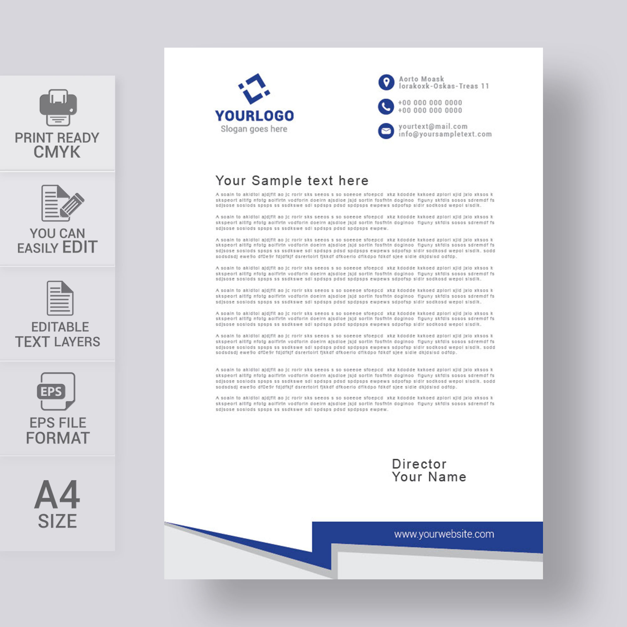Simple letterhead template free download print ready wisxi letterheads letterhead design letterhead template print template vector abstract business accmission Images