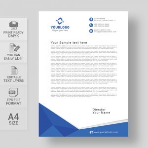 Corporate blue letterhead template