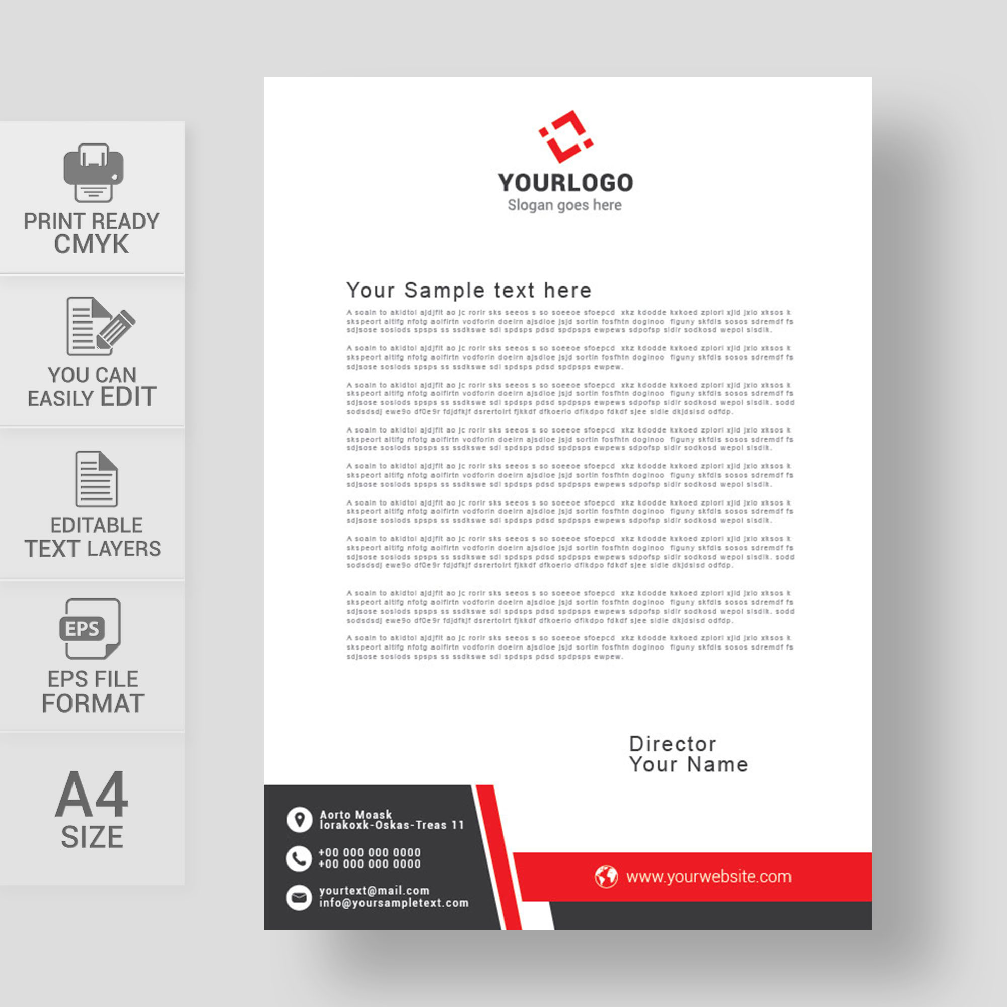 Letterheads Letterhead Design Template Print Vector Abstract Business