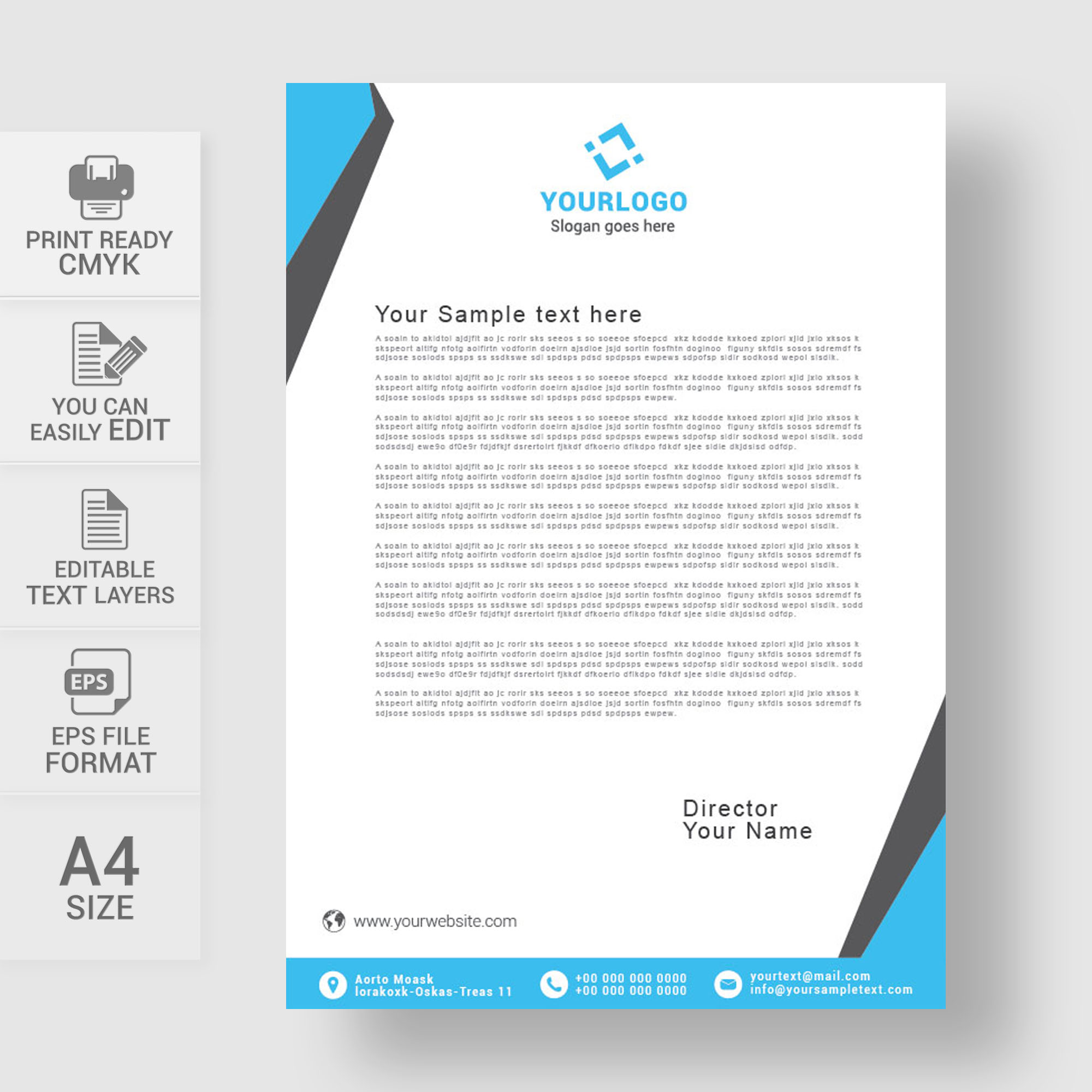 Letterheads, Letterhead Design, Letterhead Template, Print Template,  Vector, Abstract, Business  Business Letterhead Samples