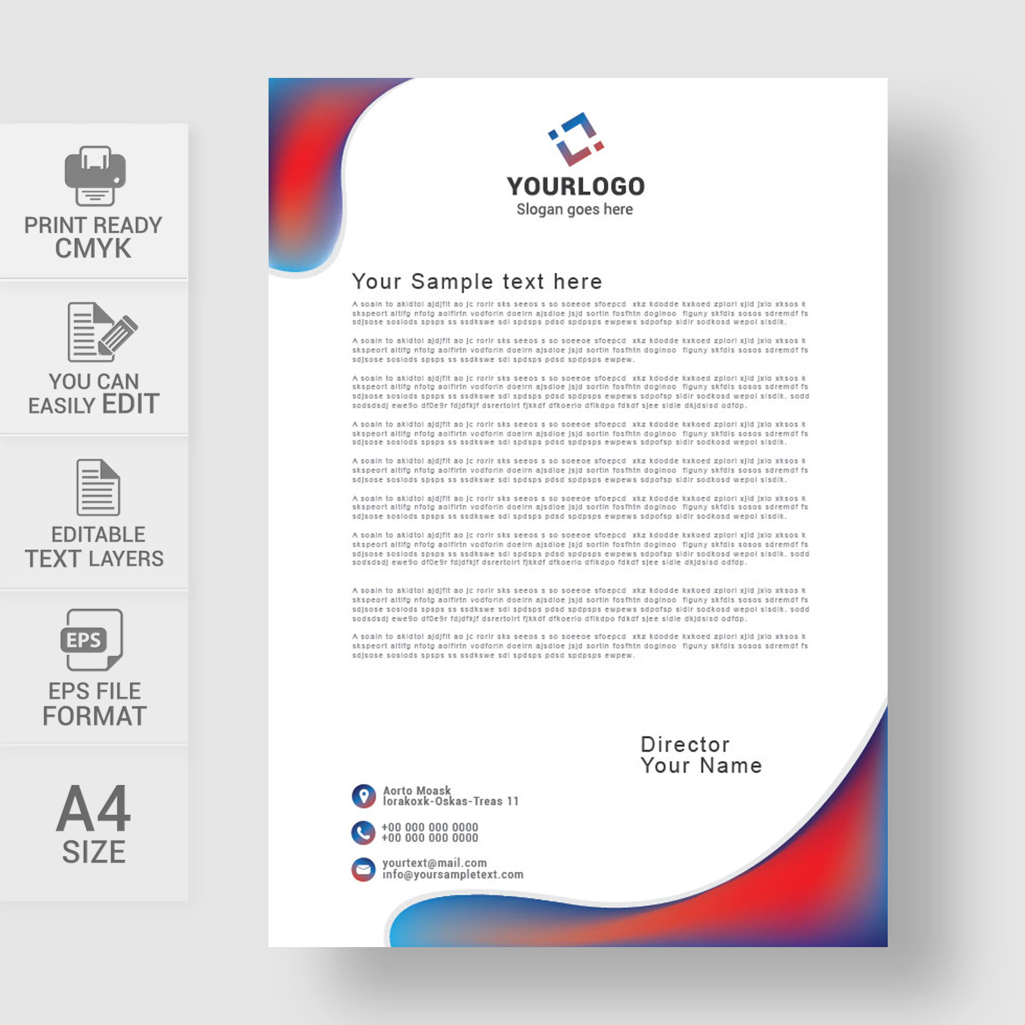Professional business letterhead template free download wisxi letterheads letterhead design letterhead template print template vector abstract business accmission Images