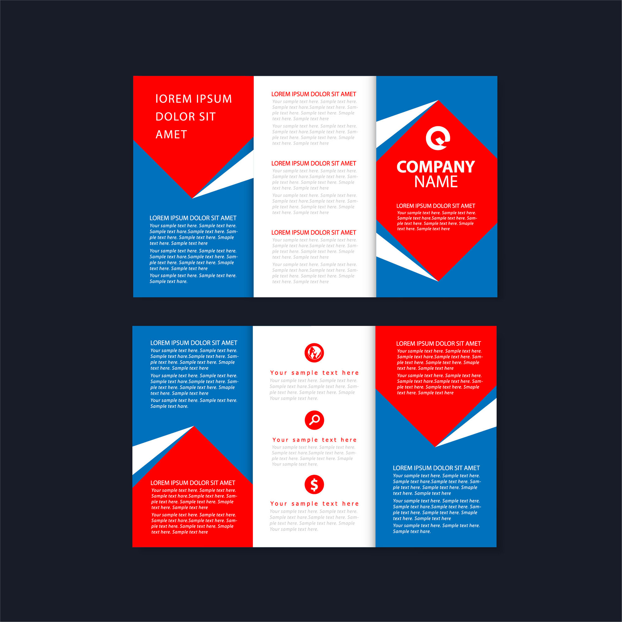 Vector Trifold Brochure Template Free Download Wisxicom - Fold brochure template