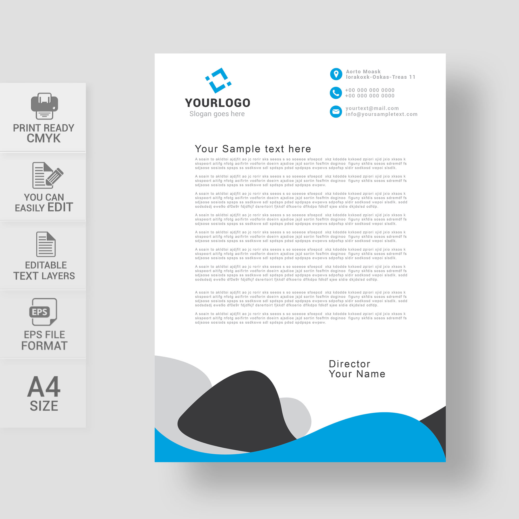Professional letterhead template free download wisxi abstract business design modern presentation template company document spiritdancerdesigns Image collections