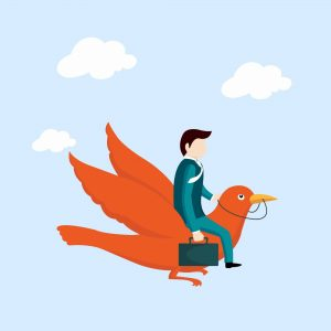 Business man flying with bird