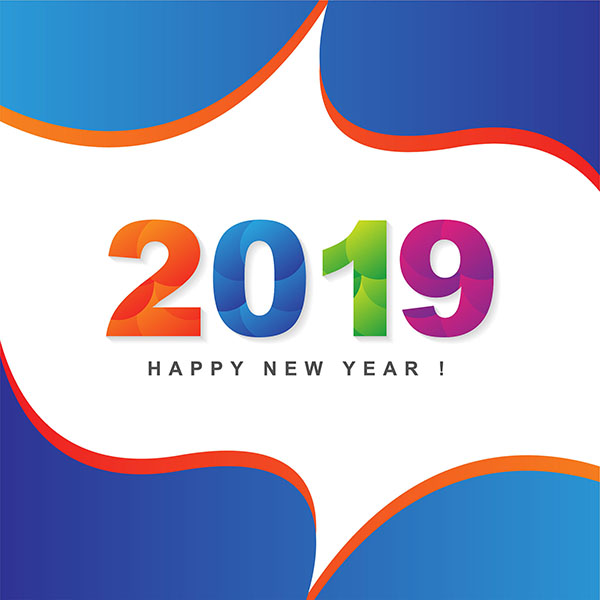 happy, new year, 2019, vector background, free vector, card, template, year, design, greeting