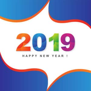 new year, 2019, greeting card, design, free vector