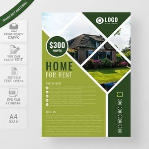 real estate, flyer design, modern, template, house rent