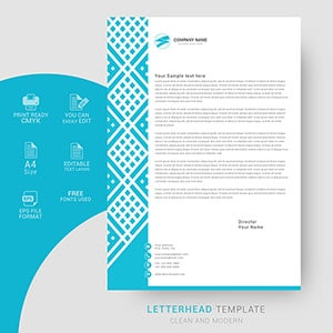 modern, letterhead, design, template, professional, company, business