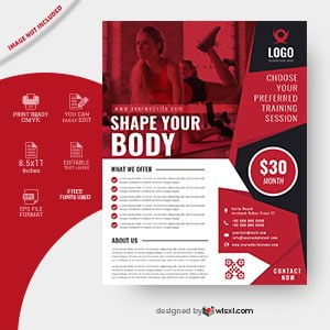 Fitness gym flyer design template