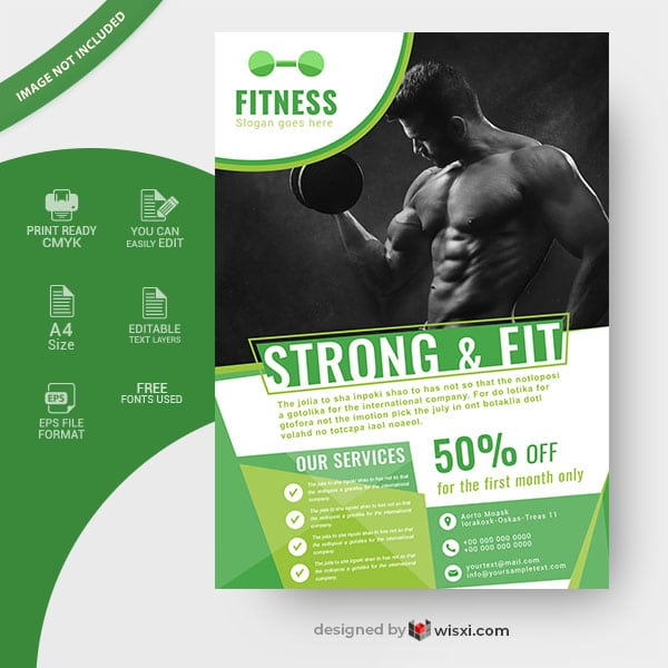 Gym and fitness flyer vector
