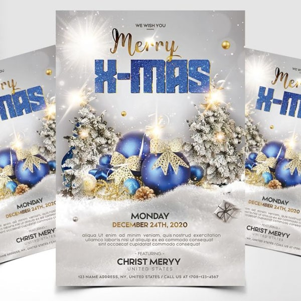 Merry christmas flyer design