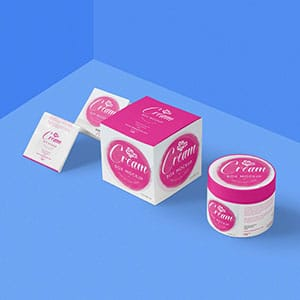 Cosmetic cream packaging label mockup