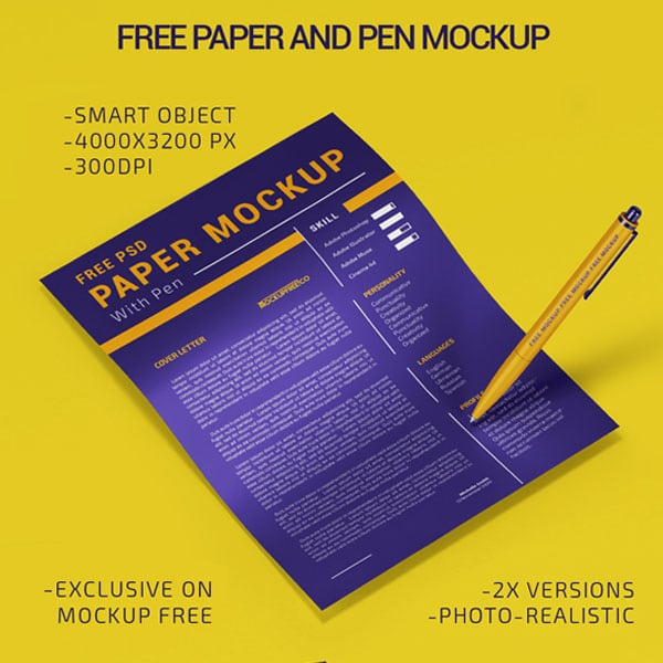 Paper With Pen Mockup