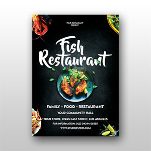 Fish Restaurant Flyer Design