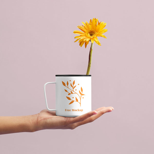 Free Flower Cup Mockup