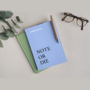 Free Notebook with Pen Mockup
