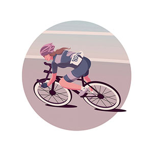 Woman Cyclist Vector Illustration