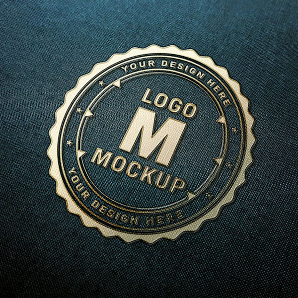 Gold Logo Mockup on Febric