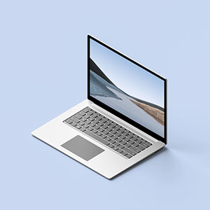 Free Isometric Surface Laptop Mockup