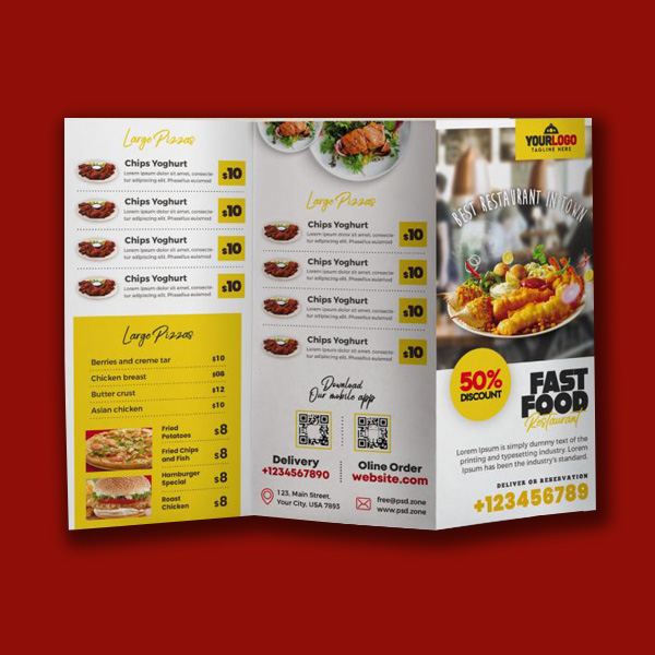 Restaurant Menu Trifold Brochure Template