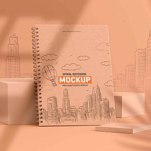 Free Spiral Note Book Mockup