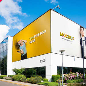Building Corner Billboard Mockup