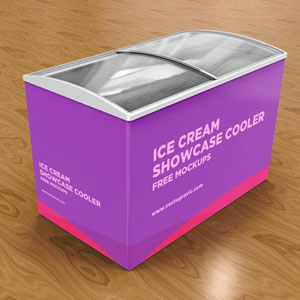 Free Ice Cream Freezer Mockup