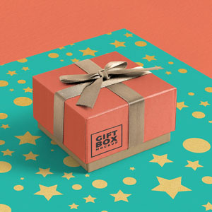 Gift box with ribbon mockup