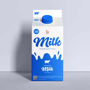 Packaging Milk Cartoon Mockup