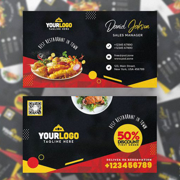 Restaurant food business card
